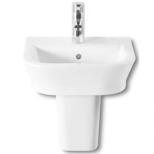 Roca The Gap Square Basin With Semi Pedestal - 350mm - 1 Tap Hole - White